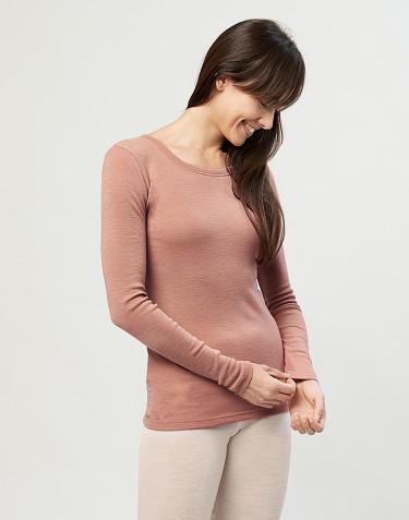 Langarmshirt Damen- 100% Bio Merinowolle puder