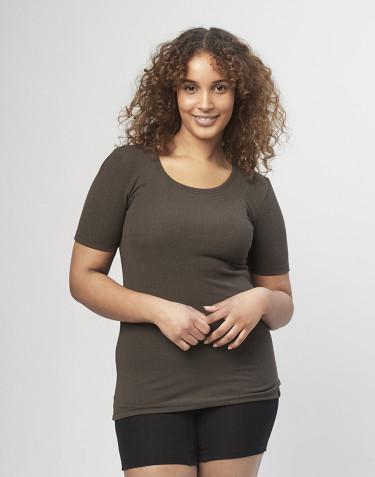 Damen T-Shirt in Rippstrick Schokobraun