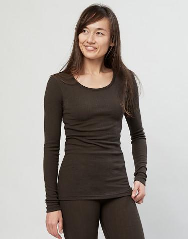 Merino Damen Shirt in Rippstrick Schokobraun