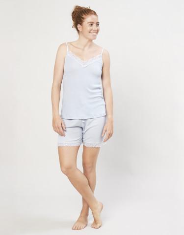 Schlafshorts für Damen aus Bio Wolle und Seide hellblau
