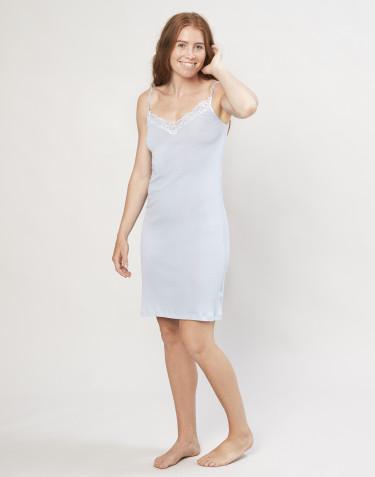 Damen Nachthemd aus Bio Wolle und Seide hellblau