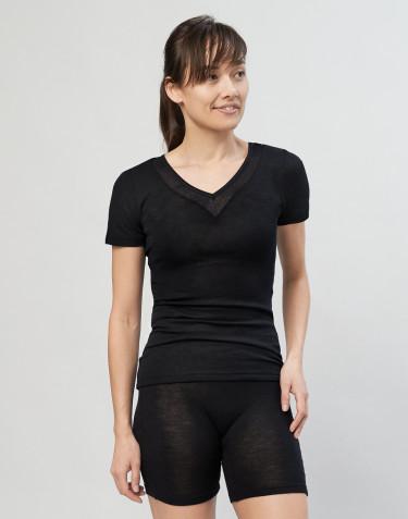 Damen T-Shirt aus Wolle/ Seide schwarz