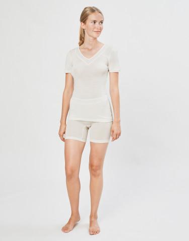 Shorts für Damen aus Wolle/ Seide natur