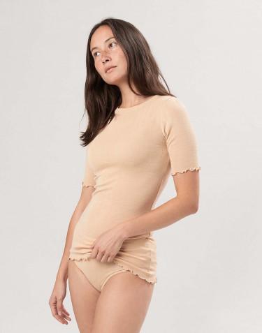Pointelle T-Shirt für Damen aus Wolle Seide