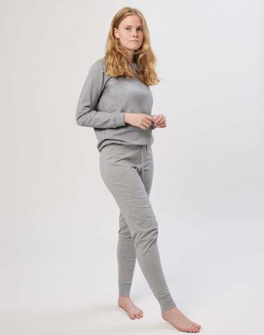 Baumwoll Schlafhose für Damen graumeliert
