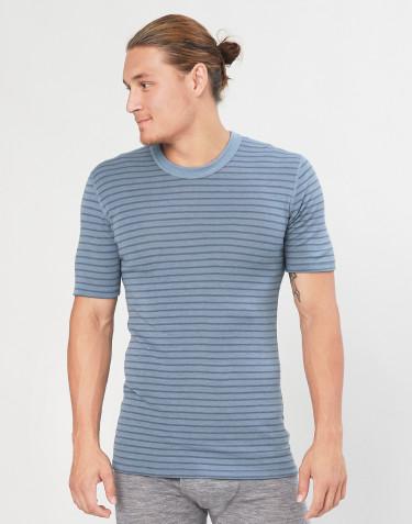 Kurzärmliges Merino Shirt für Herren blau gestreift