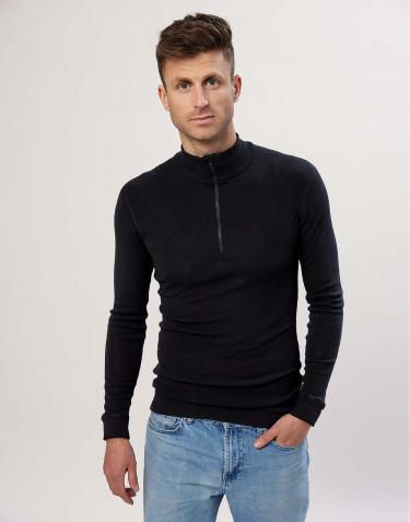 Merino Shirt mit Reissverschluss für Herren schwarz