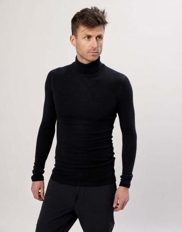 Herren Rollkragen Shirt aus Merinowolle Schwarz