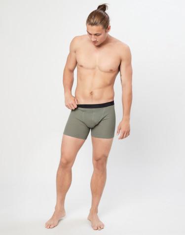 Merino Boxershorts in Rippstrick olivgrün