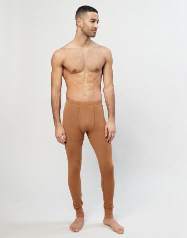 Merino Leggings mit Eingriff für Herren in Rippstrick Karamell