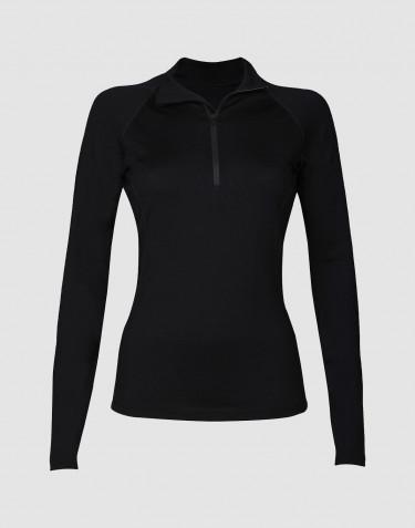 Exklusives Merino Reißverschluss Shirt Damen schwarz