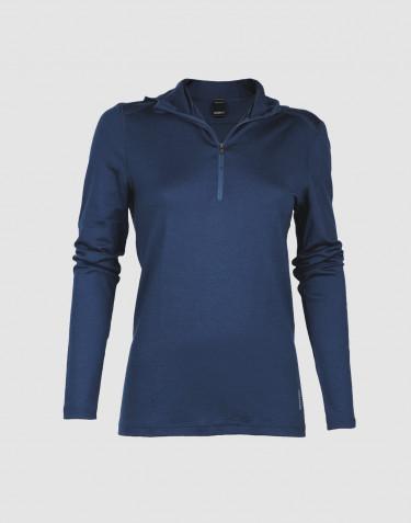 Damen Kapuzenshirt – exklusive Merinowolle dunkelblau