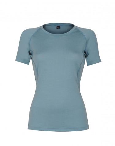 Exklusives Merino T-Shirt Damen mineralblau