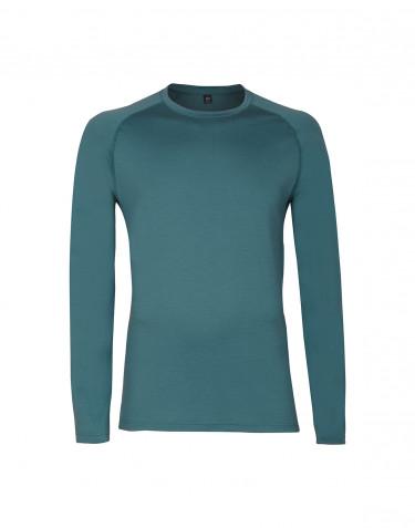 Langarmshirt für Herren - exklusiver Merinowolle aquagrün
