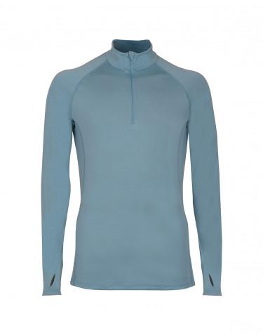 Reißverschluss Shirt exklusive Merinowolle mineralblau