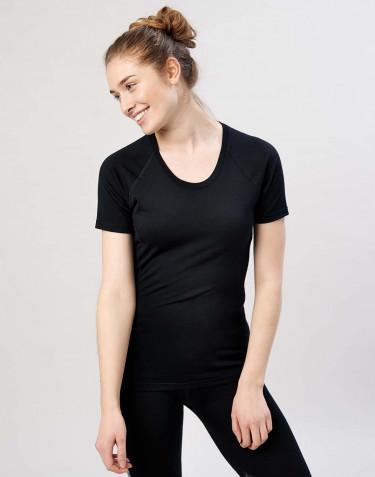 T-Shirt für Damen - exklusive Bio Merinowolle Schwarz