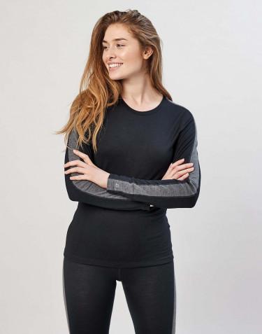 Damen Unterhemd exklusive Bio Merinowolle Schwarz