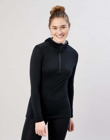 Damen Shirt mit Kapuze - exklusive Bio Merinowolle Schwarz