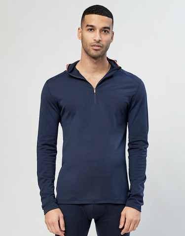 Shirt mit Kapuze - exklusive Bio Merinowolle Navy