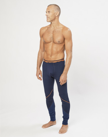 Lange Unterhose aus exklusiver Bio Merinowolle Navy