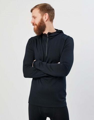 Shirt mit Kapuze - exklusive Bio Merinowolle Schwarz