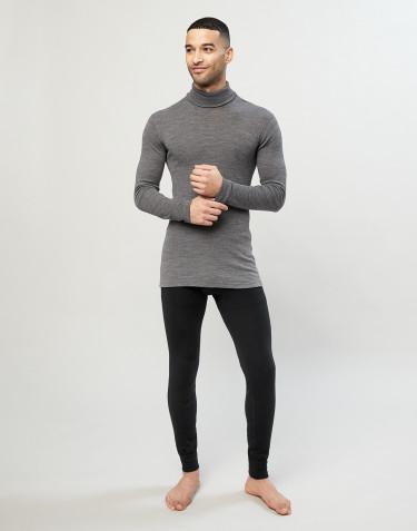 Lange Wolle/ Seide Unterhose für Herren schwarz