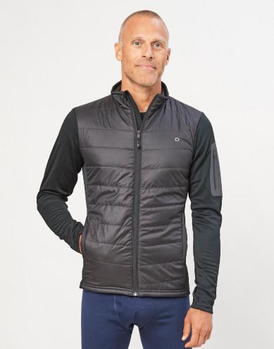 Hybridjacke für Herren mit Reißverschluss - Merino/ recyceltes Polyester schwarz