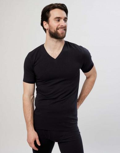 Baumwoll T-Shirt für Herren V Ausschnitt schwarz