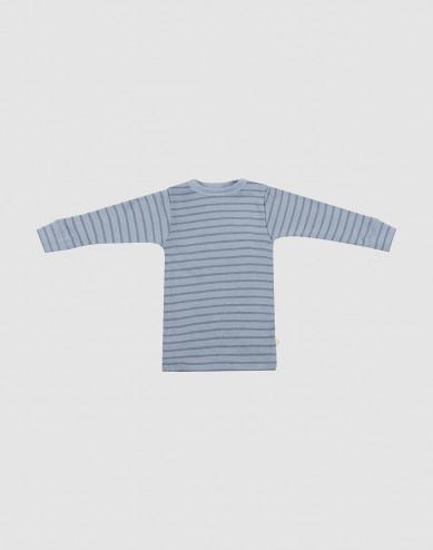 Merino Langarmshirt für Babys blau gestreift