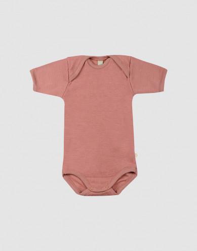 Baby Wollbody mit kurzen Ärmeln Dunkelrosa