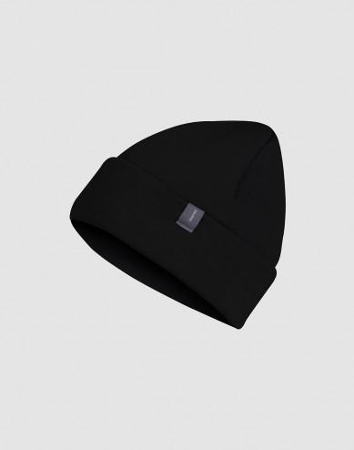Mütze für Kinder aus Wollfrottee schwarz