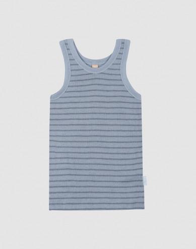 Kinder Wollunterhemd Blau gestreift