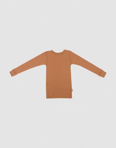Kinder Shirt in breitem Wollstrick karamell