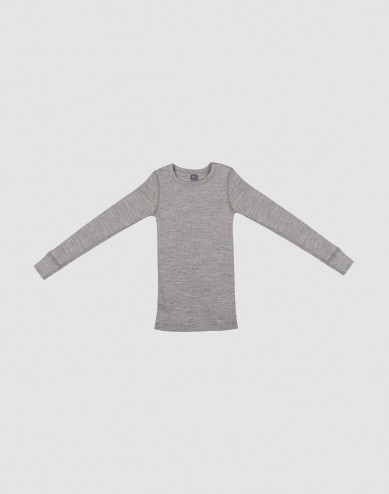 Kinder Shirt in breitem Rippstrick Grau melange