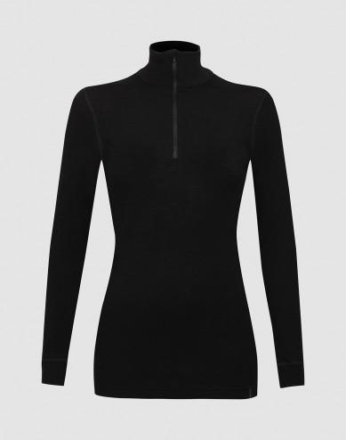 Merino Langarmshirt mit Reißverschluss schwarz