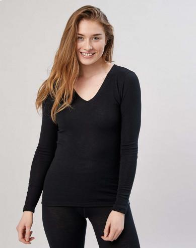 Langarmshirt mit V-Ausschnitt Schwarz