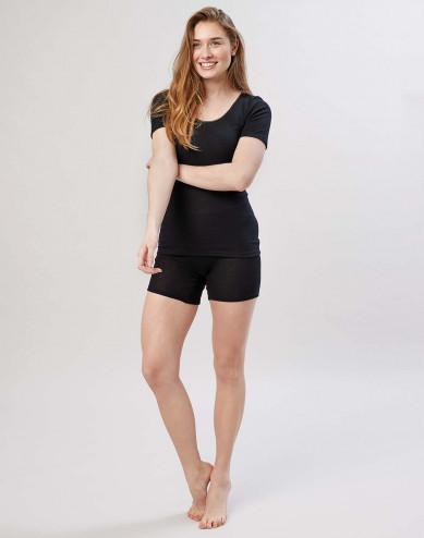 Damen Merino Shorts mit breitem elastischen Bund Schwarz
