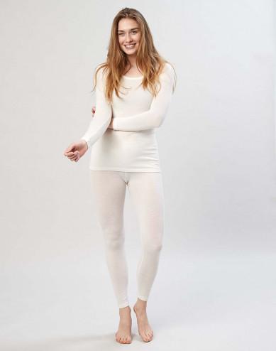 Damen Merino Leggings mit breitem elastischen Bund Natur