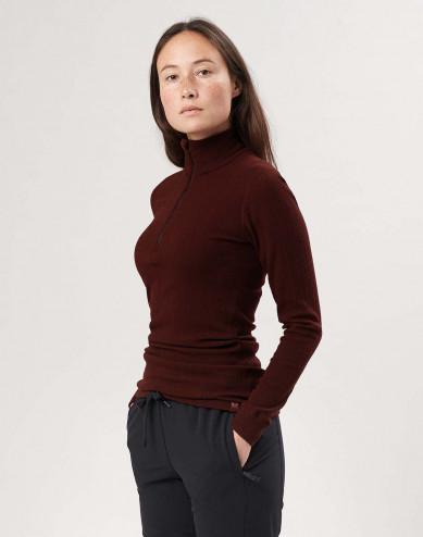 Merino Langarmshirt mit Reißverschluss für Damen
