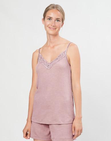 Damen Trägertop mit Spitze aus natürlicher Wolle/ Seide pastellrosa