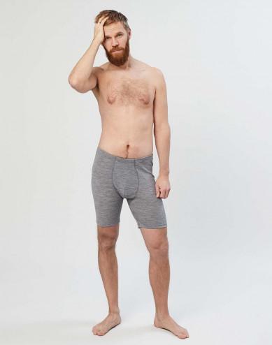Merino Boxershorts mit Eingriff für Herren grau melange