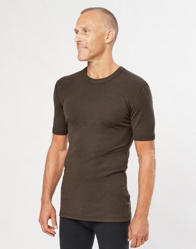 Merino T-Shirt in Rippstrick Schokobraun