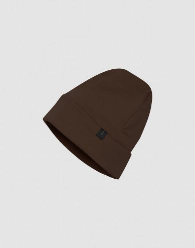 Mütze aus Wollfrottee Schokobraun