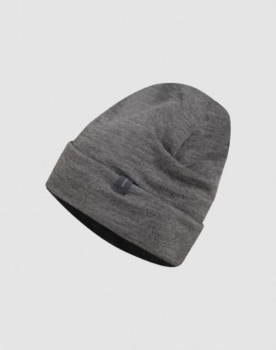 Mütze aus Wollfrottee dunkelgrau melange