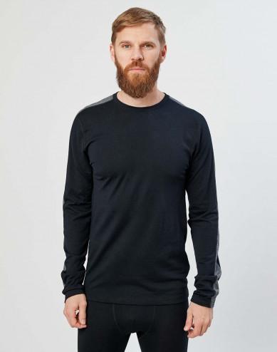 Herren Langarmshirt aus exklusiver Bio Merinowolle Schwarz