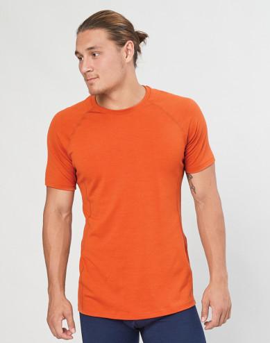 T-Shirt für Herren - natürliche exklusive Merinowolle Orange