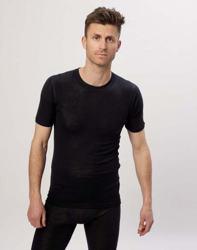 Kurzärmliges Herren T-shirt aus Wolle/ Seide schwarz