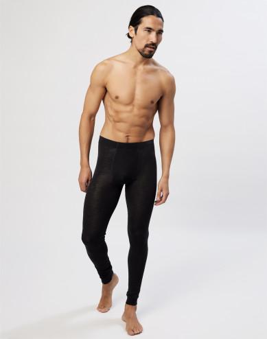 Lange Herren Unterhosen mit Eingriff aus natürlicher Merinowolle - Schwarz