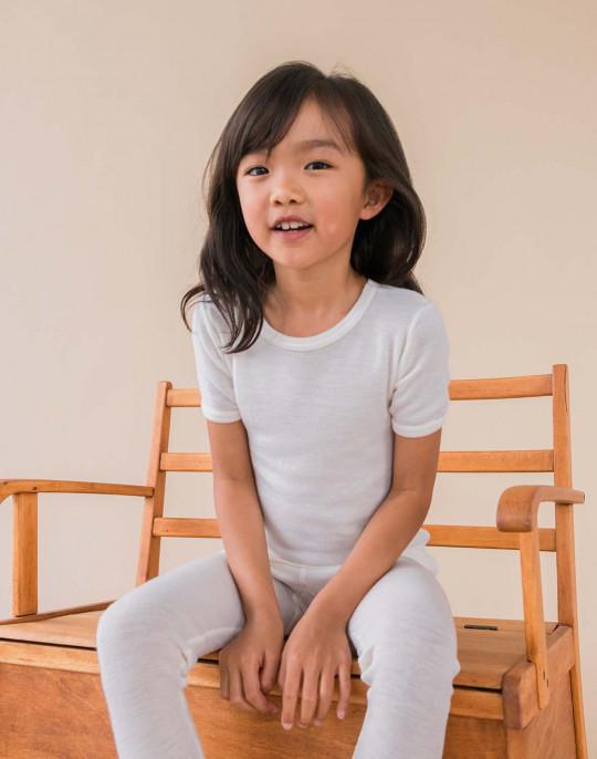 DILLING Exklusive Kinder Shirt mineralblau 100/% Merinowolle NEU